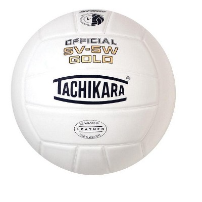 Tachikara SV5W Gold NFHS Premium Leather Volleyball, White