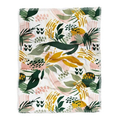 Marta Barragan Camarasa Art Nature Brushstrokes Woven Throw Blanket Green - Deny Designs