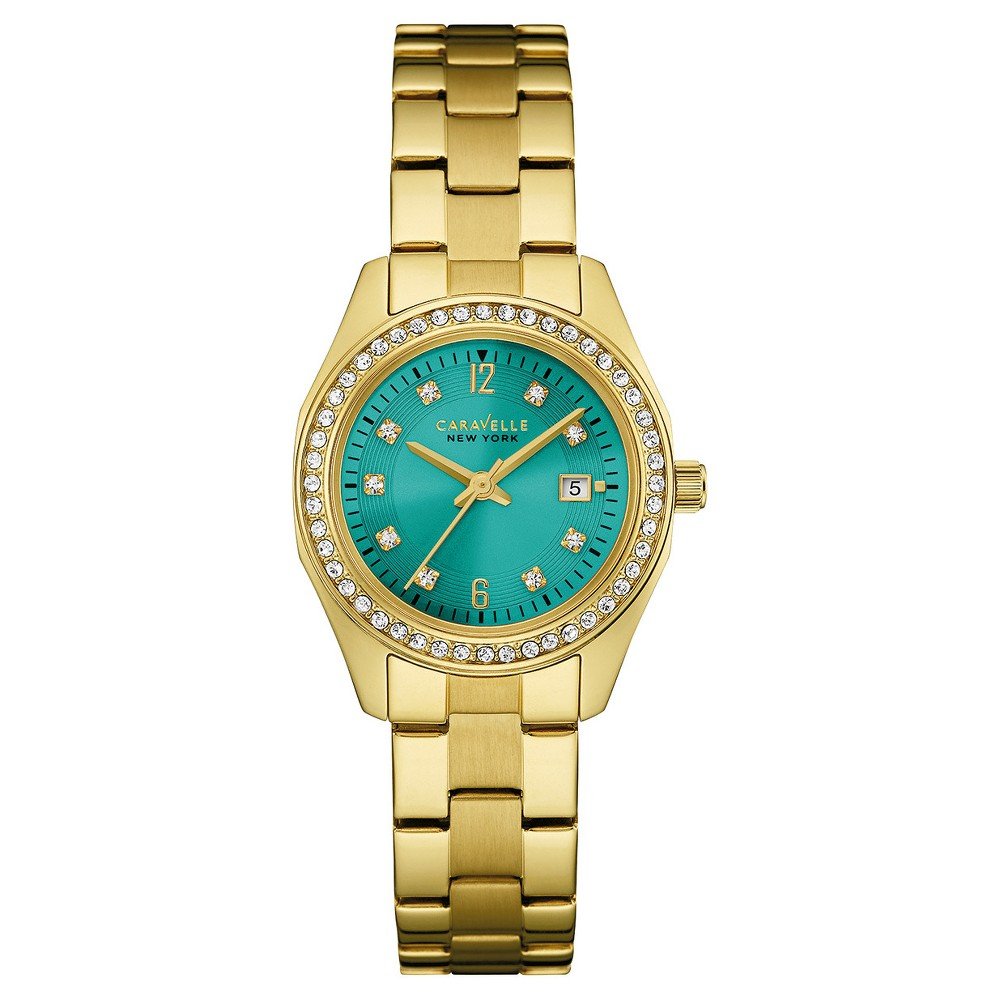 Image of Women's Caravelle New York Crystal Accent Stainless Steel Bracelet Watch 44M109 - Bright gold, Size: Small, Blue Gold