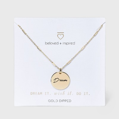 Beloved + Inspired Gold 'Dream' Disc Chain Necklace - Gold