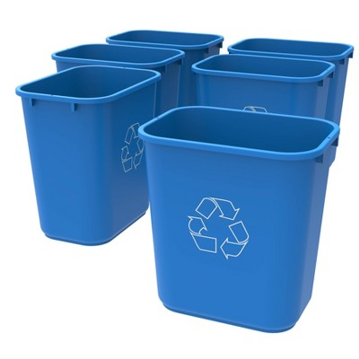 Storex 6pk 28qt Recycling Wastebaskets - Blue