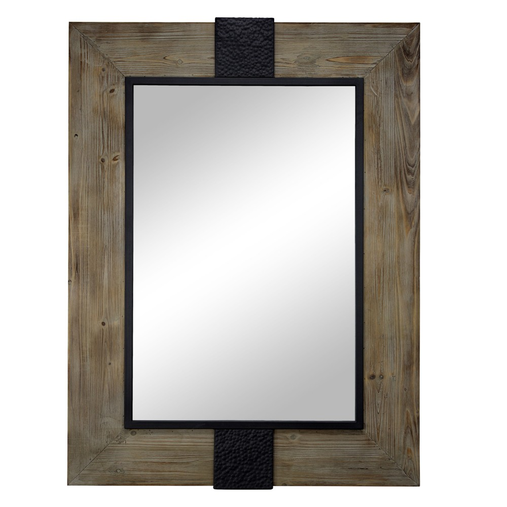 Wood And Metal Wall Mirror Brown - E2 Concepts