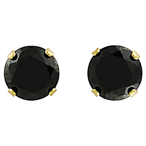 1/2 CT. T.W. Round-cut CZ Prong Set 4 MM Stud Earrings in Vermeil - Black - image 1 of 2