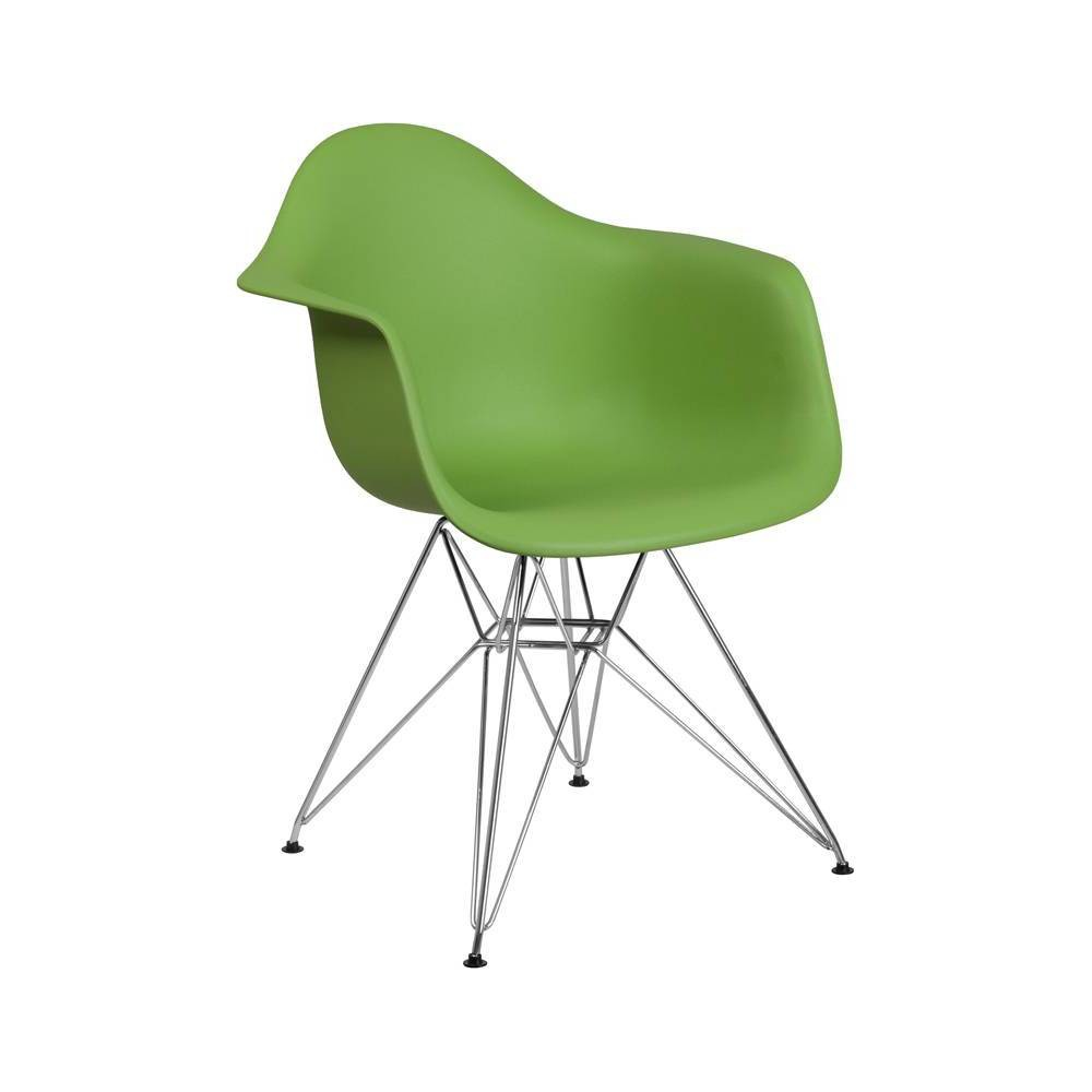 Image of Alonza Series Plastic Chair with Arms and Chrome Base Green - Riverstone Furniture Collection