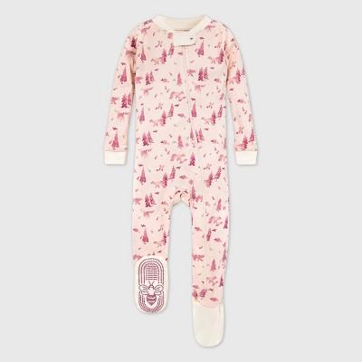 Burt's Bees Baby® Baby Girls' Organic Cotton Bear Footed Pajama - Pink 12M