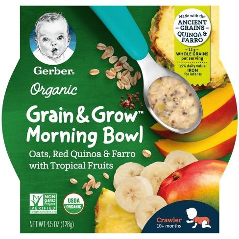 Gerber Organic Grain & Grow Morning Bowl Oats Quinoa Farro Tropical Fruits Baby Meals - 4.5oz - image 1 of 4