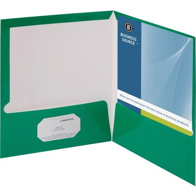 Business Source Two Pocket Folder Ltr 2-Pkts 100 Shts 25/BX GN 44427