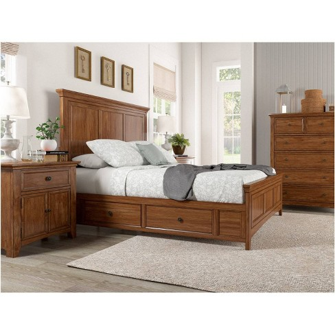Martha Wood Panel Platform Bed With Two Sides Of Storage Inspire Q