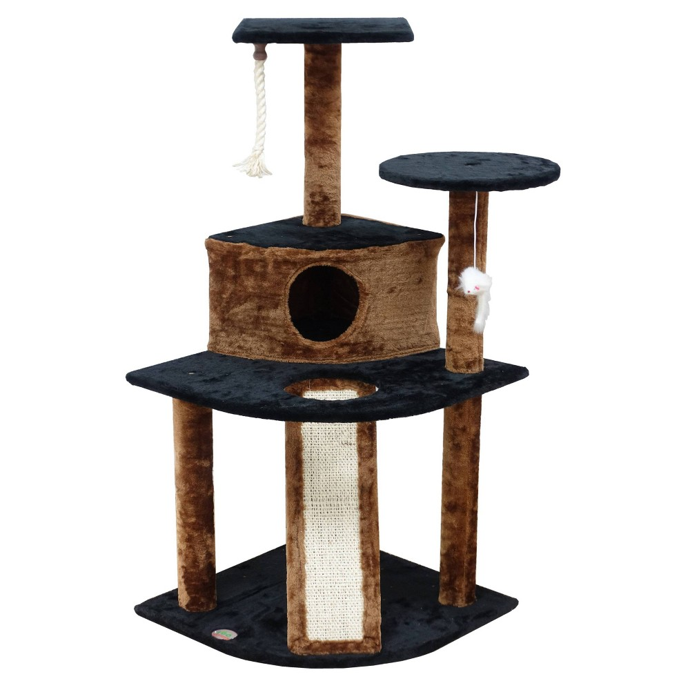Go Pet Club Kitten Cat Tree Condo With Scratching Board Black 47 34