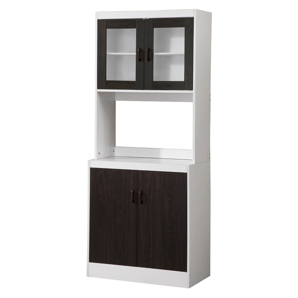 Image of Traditional Kitchen Cabinet - White/Dark Brown - Home Source Industries