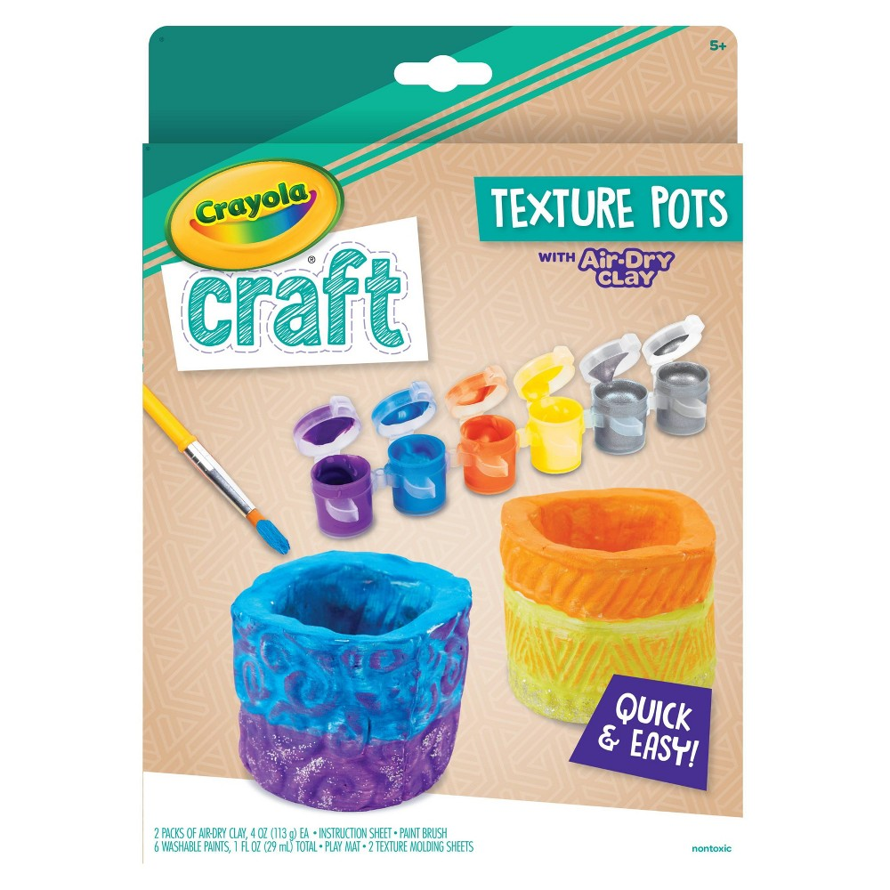 Image of Crayola Craft Air-Dry Clay Texture Pots Activity Kit