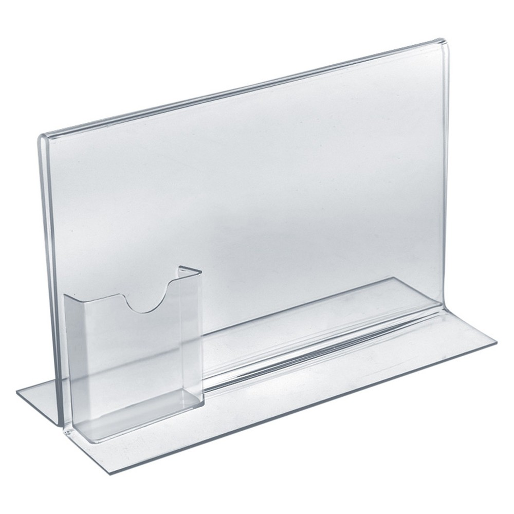 "Image of ""Azar 11"""" x 8.5"""" Double-Foot Acrylic Sign Holder With Attached Tri-Fold Pocket 10ct"""