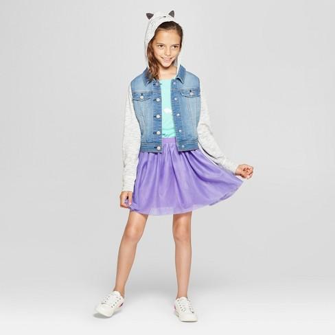 ef1d9c08869 Girls' French Terry Long Sleeve Hoodie Denim Jacket - Cat & Jack™ Medium  Blue. Shop all Cat & Jack