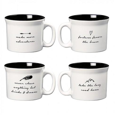 Varied Wanderlust Home Coffee With Sayings 20 Of Oz Ceramic Amici MugsSet Whiteblack 4 3AL4j5Rq