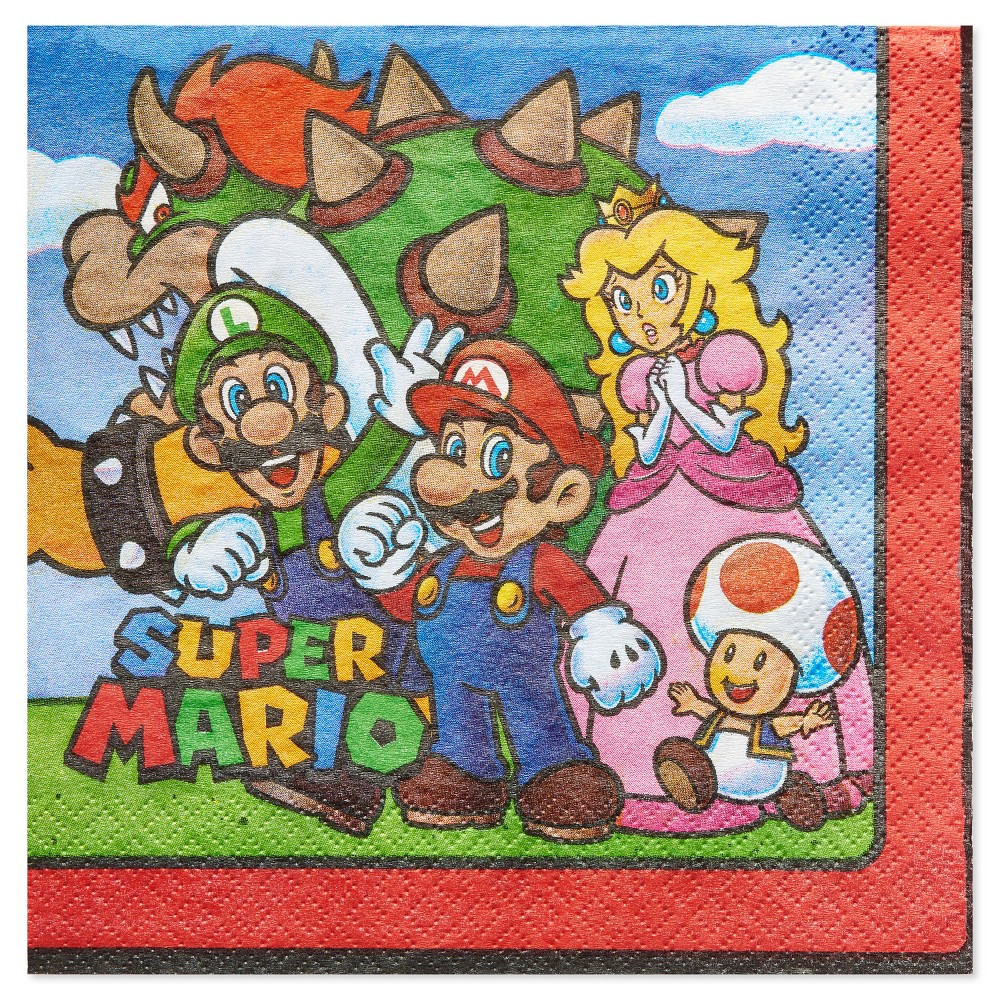 Image of 16ct Super Mario Brothers Lunch Napkin