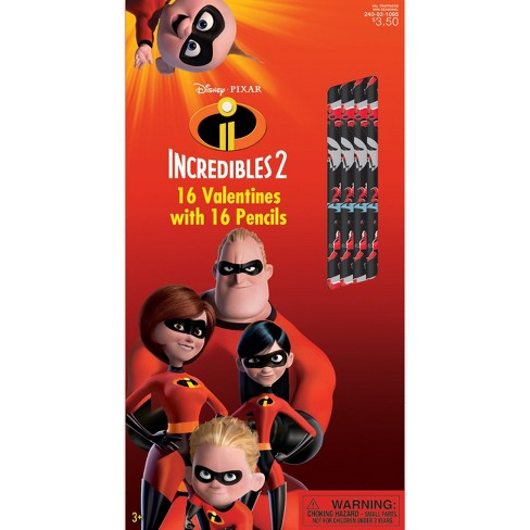 16ct Incredibles 2 Valentine Card Pack with Pencils - image 1 of 1