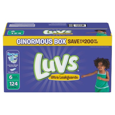 Luvs Disposable Diapers Ginormous Pack - Size 6 (124ct)