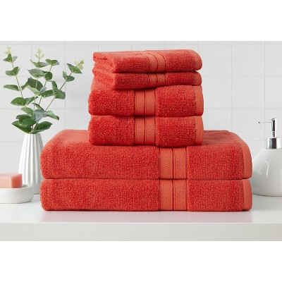 6pk Cotton Rayon from Bamboo Bath Towel Set Coral - Cannon