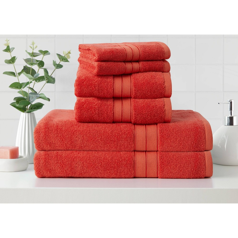 6pk Cotton Rayon From Bamboo Bath Towel Set Coral Cannon