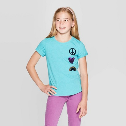 Girls' Short Sleeve Flip Sequin Peace T-Shirt - Cat & Jack™ Turquoise - image 1 of 4