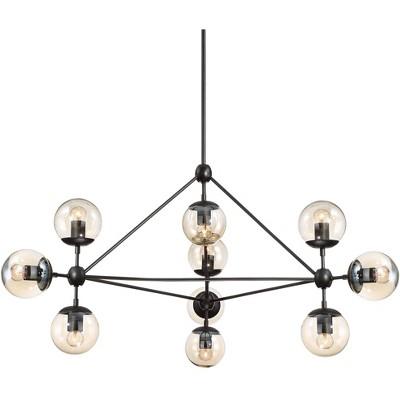 "Possini Euro Design Black Large Chandelier 40"" Wide Industrial Modern Cognac Glass 10-Light Fixture for Dining Room Foyer Kitchen"