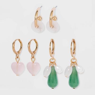 Semi-Precious Stone Hoop Earring Set 3pc - A New Day™