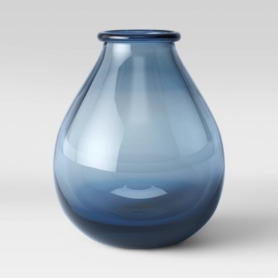 "15"" x 13.2"" Decorative Glass Vase Blue - Threshold™"