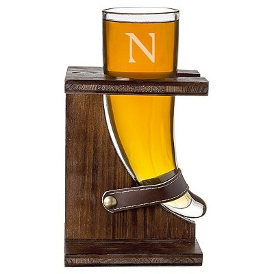 Cathy's Concepts 16 oz. Personalized Glass Viking Beer Horn with Rustic Stand-N