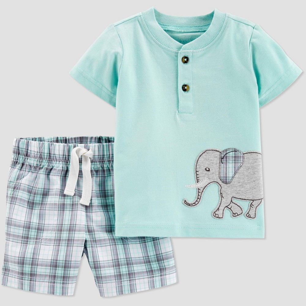 Baby Boys' 2pc Plaid Elephant Shorts Set - Just One You made by carter's Green 3M, Blue