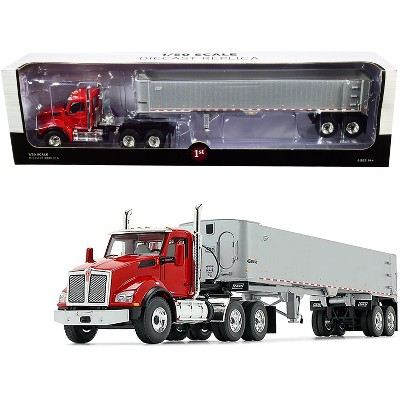 Kenworth T880 Day Cab with East Genesis End Dump Trailer Viper Red and Silver 1/50 Diecast Model by First Gear