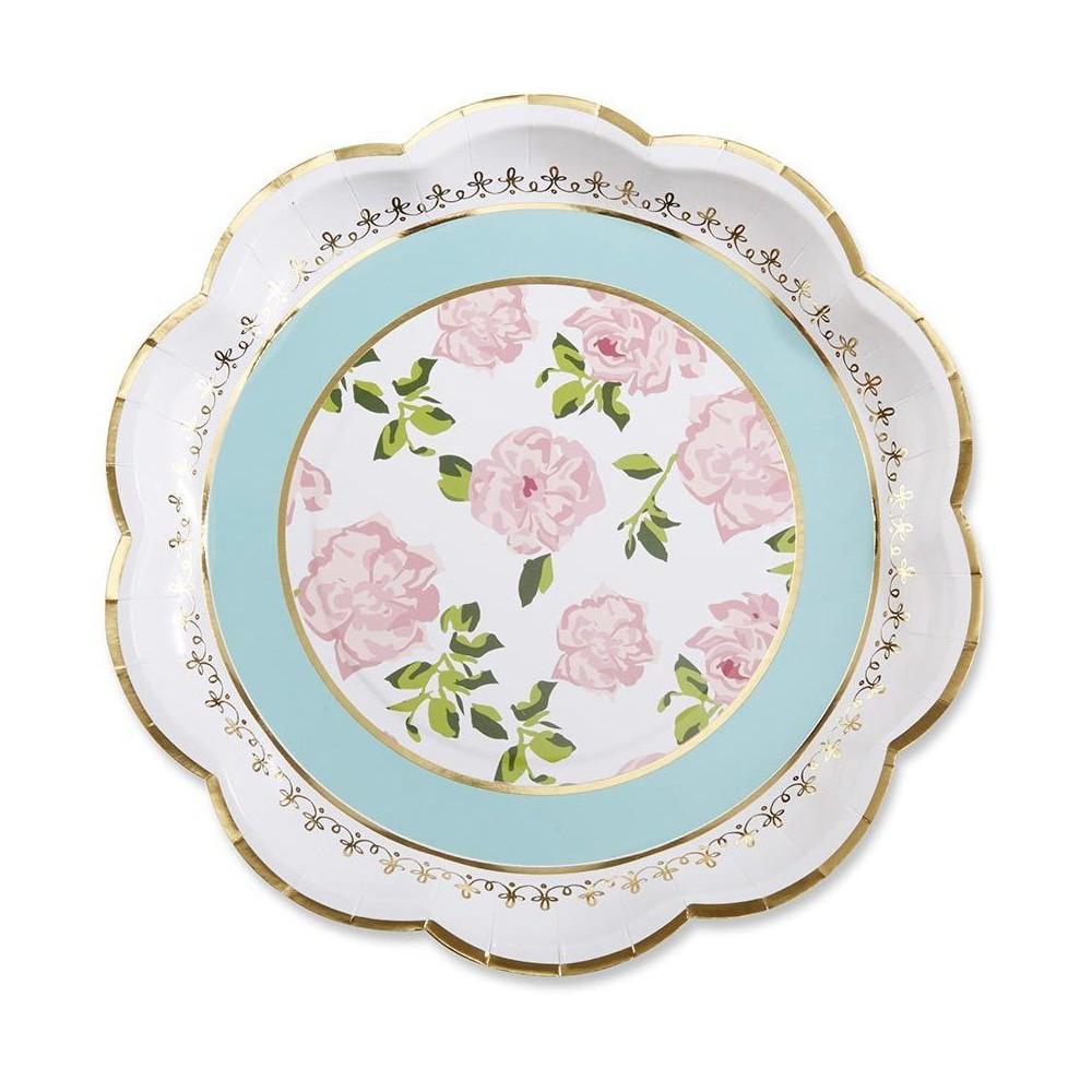 24ct Kate Aspen Tea Time Whimsy Paper Plates, Multi-Colored