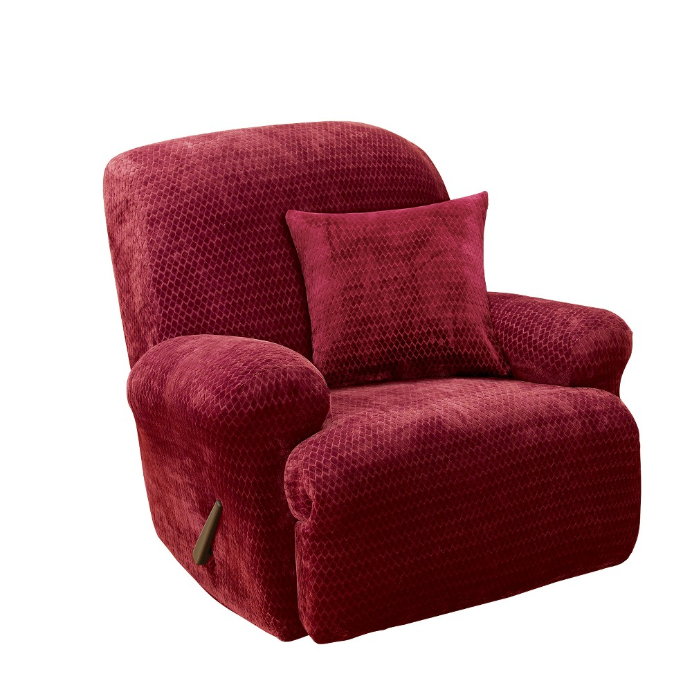 Stretch Royal Diamond Recliner Slipcover Wine (Red) - Sure Fit