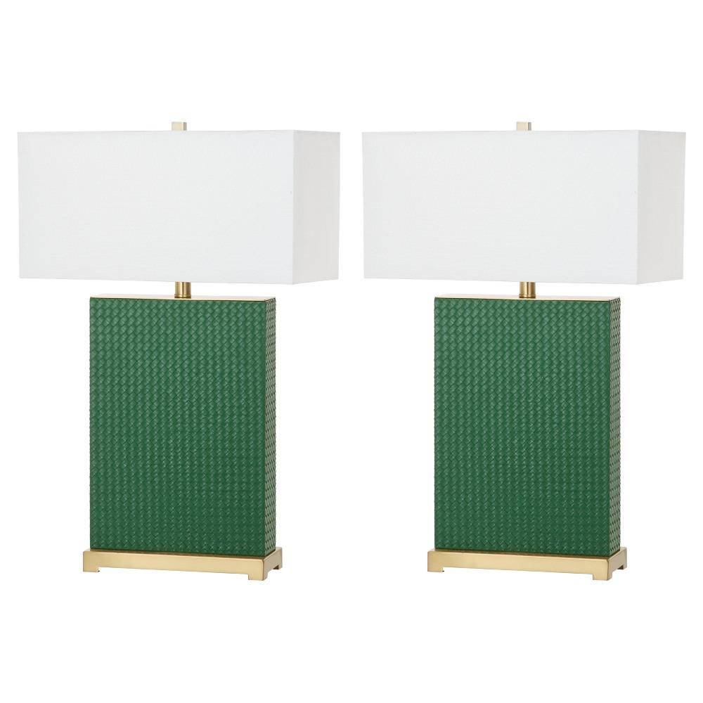 Image of Joyce Dark Green Ceramic Faux Woven Leather Table Lamp Set of 2 - Safa - Safavieh