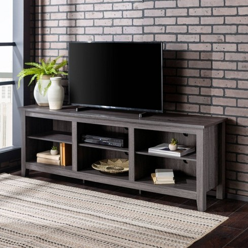 70 Wood Media Tv Stand Storage Console Charcoal Saracina Home Target