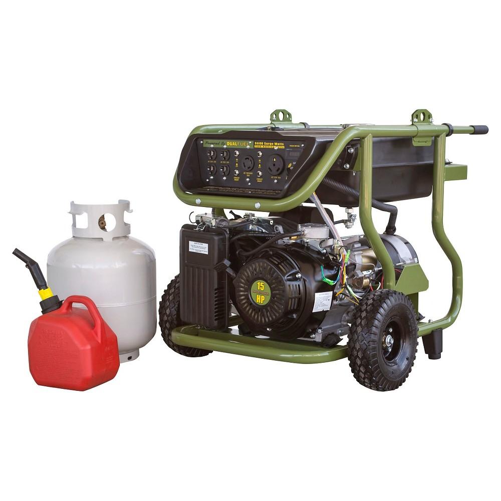 Dual Fuel 120 Volts ,9000 Surge Watts Portable Generator - Green - Sportsman
