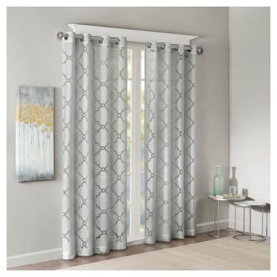Zoe Fretwork Burnout Sheer Curtain Panel