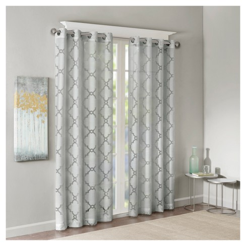 Zoe Fretwork Burnout Sheer Curtain Panel - image 1 of 4