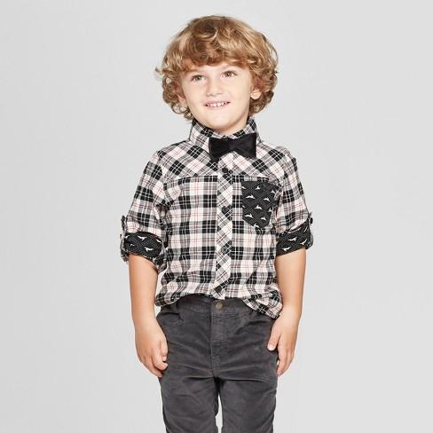 820c1cc9f Genuine Kids® from OshKosh Toddler Boys' Long Sleeve Poplin Bunny Plaid  Button-Down Shirt - Black