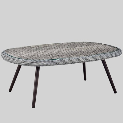Endeavor Outdoor Wicker Rattan Patio Coffee Table Gray - Modway