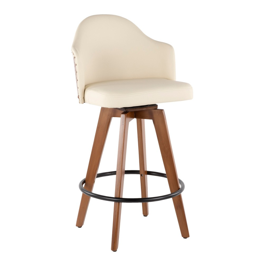"Image of ""26"""" Ahoy Mid-Century Modern Counter Stool Walnut/Cream - LumiSource, Brown/Ivory"""