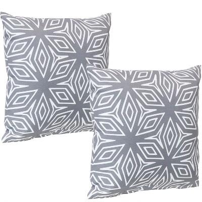 "17"" Square Decorative Outdoor Pillow - Set of 2 - Geometric Gray - Sunnydaze Decor"