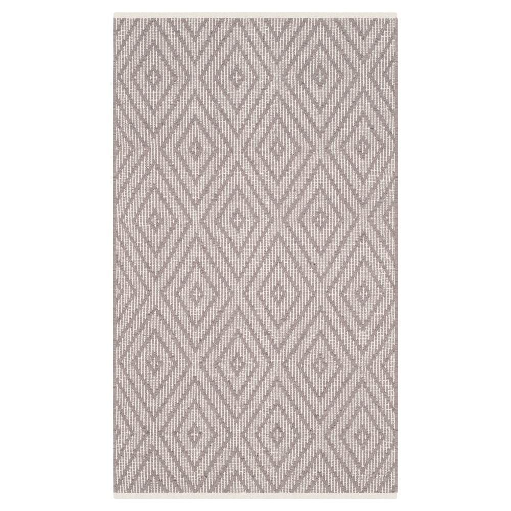 Gray/Ivory Diamond Flatweave Woven Accent Rug 2'3