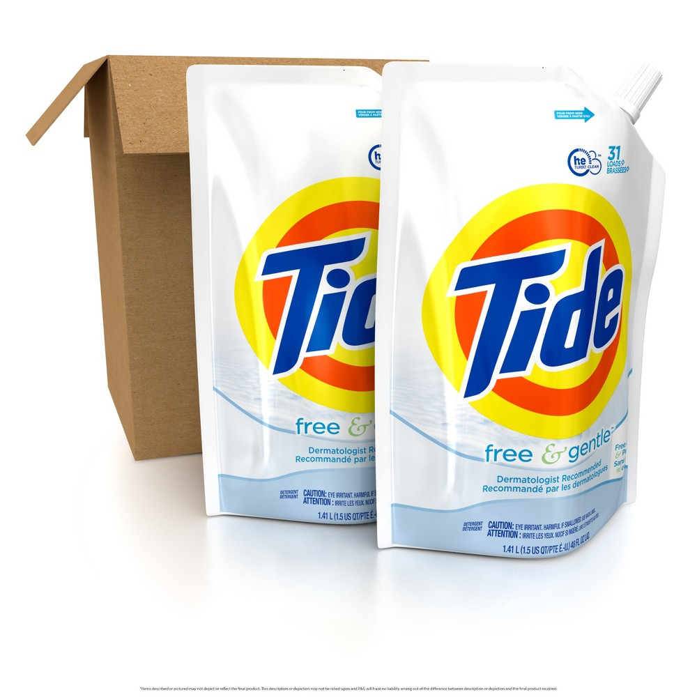 Tide Free & Gentle Liquid Laundry Detergent - 48 fl oz 2pk