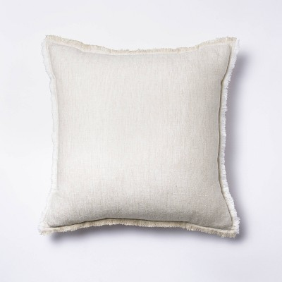 Square Linen Throw Pillow with Contrast Frayed Edges White/Cream - Threshold™ designed with Studio McGee