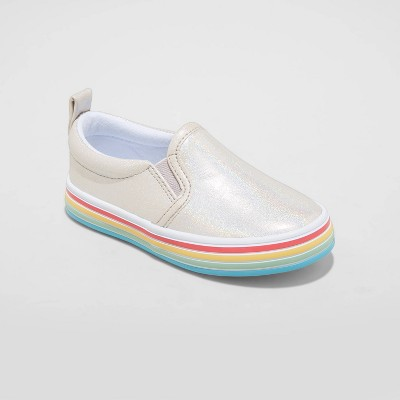 Toddler Girls' Whitney Twin Gore Slip-On Rainbow Sneakers - Cat & Jack™ Silver