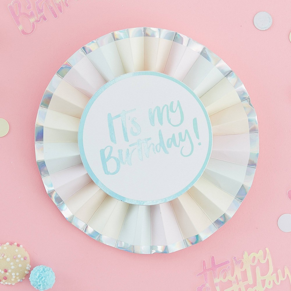 Pastel Birthday Badge Party Accessories - Ginger Ray, Adult Unisex, Multi-Colored