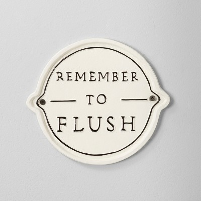 'Remember To Flush' Wall Sign White/Black - Hearth & Hand™ with Magnolia