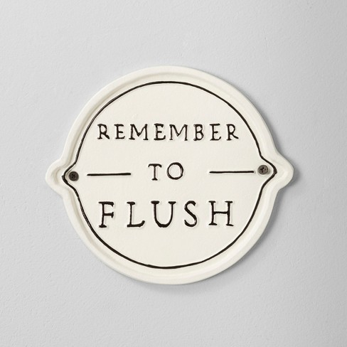 'Remember To Flush' Wall Sign White/Black - Hearth & Hand™ with Magnolia - image 1 of 2