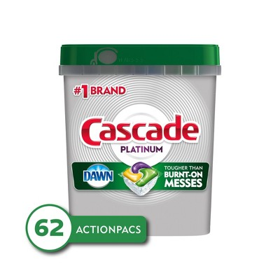 Cascade Platinum ActionPacs Dishwasher Detergent - Lemon Scent - 62ct