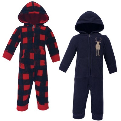 Hudson Baby Infant Boy Fleece Jumpsuits, Coveralls, and Playsuits 2pk, Forest Moose